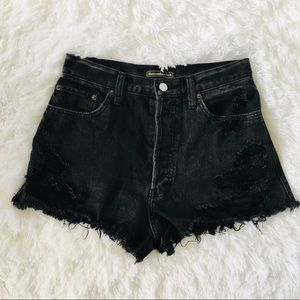 Abercrombie and Fitch Distressed High Rose Shorts